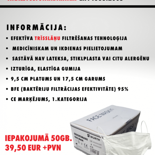 Medicīniskās sejas maskas 07/05/2020