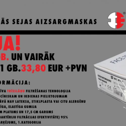 Akcija medicīniskajām sejas maskām 13/05/2020
